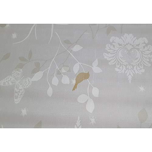 ART2LATABLE Nappe en Toile CIREE 140 Birdy Ecru LAQUEE - Nappe Rectangle 140x1000 CM