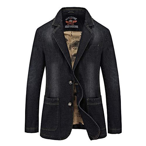 Vovotrade Herren Denim Jacket Jeans Jacke Button Cowboy Jacke Bequeme Baumwolle Mantel -