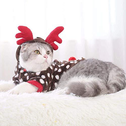 Cat Annahme Kostüm - ZDLF Pet Weihnachten Dress Up Cosplay Kostüm Cute Reindeer Coat Hoodie Mit Roten Geweih Für Katzen Kleine Hunde
