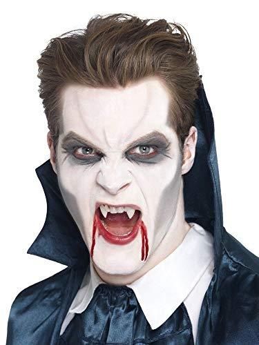2 Vampir-Zähne mit Fixiermasse - wiederverwendbar - Perfekter Halt - Fangzähne Eckzähne Vampirgebiss Dracula Blutsauger Fledermaus Nosferatu Wolf Dämon FX Halloween
