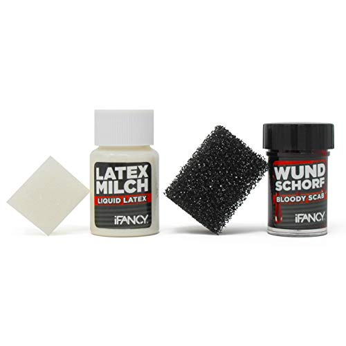 iFancy Zombie Makeup Set - Wundschorf Blut & Latexmilch zum Wunden & Narben schminken an Halloween, Fasching & (Kostüm Party Makeup Tutorial)