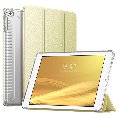 iPad 9.7 Inch 2018/2017(iPad5/iPad6/iPad Air/iPad Air 2 Tablet, Slim Smart-Shell Stand Cover with Corner Airbag Protector and Soft TPU Back, Champagne Gold (with Auto Wake/Sleep) ()
