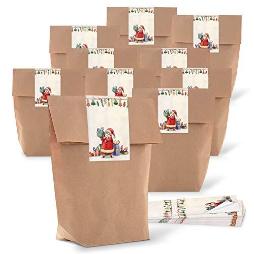(25 kleine Weihnachten Papiertüten braun natur 14 x 22 x 5,6 cm + 25 Aufkleber SANTA NIKOLAUS WEIHNACHTSMANN rot grün beige Geschenk Verpackung bio Kraftpapier weihnachtlich vintage Be-Füllen)
