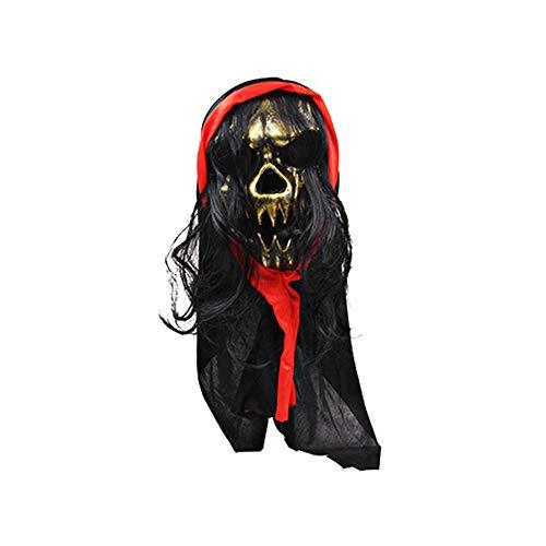 hefeibiaoduanjia Gruseliger Totenkopf Simulieren Haar Maske Cosplay Halloween Kostüme Party Requisite Grusel Schädel Simulieren Haar Maske Cosplay