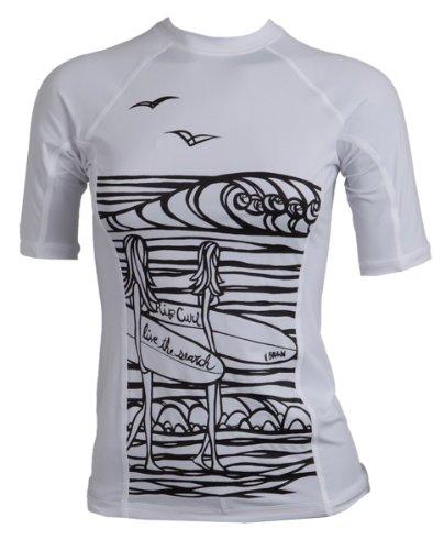 Rip Curl Surf CHICAS Short Sleeve Rash Guard Shirt, damen, weiß
