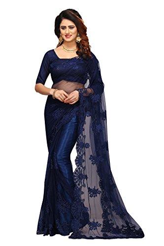 Sunshine Fashion Women's Mono Net & Banglori Silk Fabric Saree With Blouse...