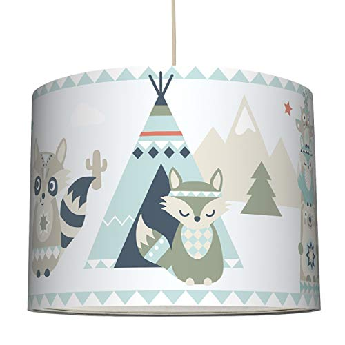anna wand Hängelampe Little Indians BEIGE/TÜRKIS/ROT - Lampenschirm für Kinder/Baby Lampe mit Tier - Indianermotiv - Sanftes Kinderzimmer Licht Mädchen & Junge - ø 40 x 30 cm