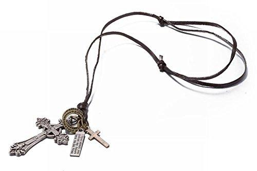 Thumby Alte Legierung Anhänger Leder Seil Halskette Männer und Frauen Mode Allgleiches Lange Leder Seil Pullover Kette Alt Silber, antike Bronze