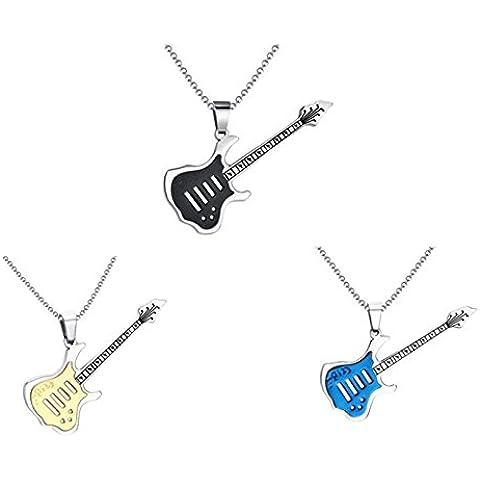 AnaZoz Joyería de Moda Colgante Collar Guitarra Música Acero Inoxidable 3 Color