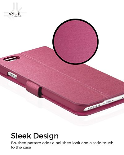 """Vena vSuit Draw Bench PU Leather Wallet Flip Stand Case w/ Card Pockets for Apple iPhone 6 Plus (5.5"""") - Burgundy Red w/ Rubberized Snap-on PC Burgundy Red"""