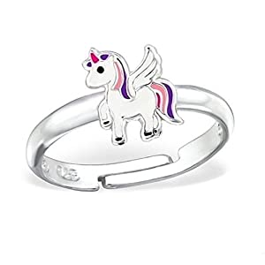 Kinder Ring 925 Echt Silber Mädchen Fingerring Emaille Kristalle Verstellbar (1) Pegasus / 9 x 7mm)