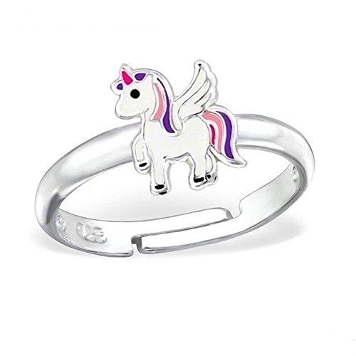 GH1a Einhorn Alicorn Ring 925 Sterling Silber Mädchen Kinder Pferd Geschenkidee