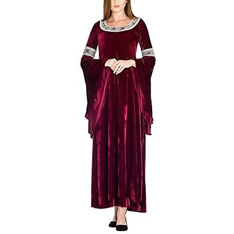 Arwen Königinnen Kleid Elben Gewand Kostüm roter Samt mit Spitze exklusiv bei Elbenwald - 40/42 (Arwen Von Herr Der Ringe Kostüm)