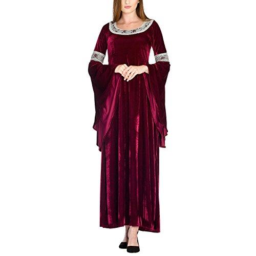 Arwen Königinnen Kleid Elben Gewand Kostüm roter Samt mit Spitze exklusiv bei Elbenwald - 44/46 (Arwen Kleid Erwachsene Kostüme)
