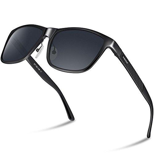 PAERDE Unisex Retro Al-Mg Metallrahmen polarisierte Sonnenbrille für Männer Frauen (Schwarzer Rahmen&Schwarze Linse)