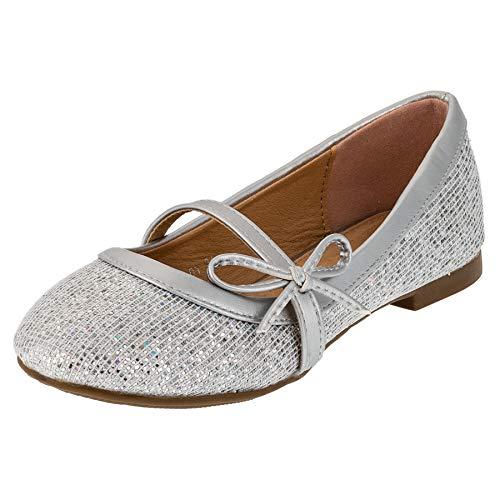 Festliche Kinder Mädchen Ballerinas mit Einer Innensohle aus echtem Leder/Schuhe für Partys und Freizeit in vielen Farben M202si Silber 34 EU/Fußlänge 19,8 cm