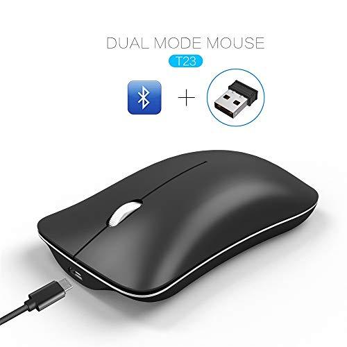 samLIKE Kabellos Maus Leise Bluetooth + 2.4GHz Dualmodus Wireless Mouse Ultra Dünn Funkmaus Optischer Laser Wiederaufladbare 1600DPI Mäuse für PC, Laptop, MacBook, Zuhause, Büro (Schwarz) - Wiederaufladbare Bluetooth Laser Maus