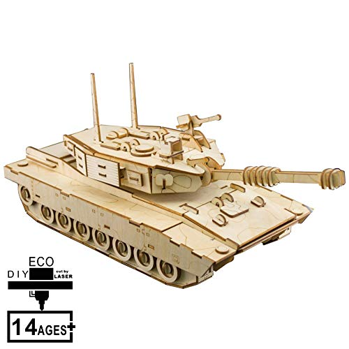 AHWZ 3D Puzzle DIY Wooden Jigsaw Puzzle Wooden Crafts Tank 214pc