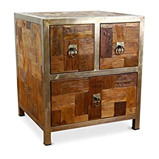 livasia Modern Industrial Design' Chest of Drawers, Bedside Table made from Reclaimed Teak Wood with Steel Frame, Handmade Java furniture, Indonesia