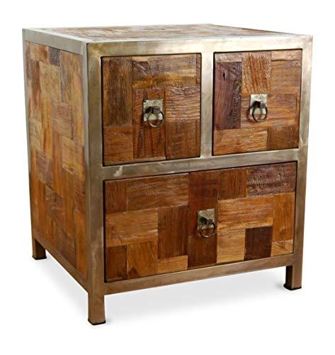 Kleine Java Kommode aus Metall und Teakholz | Kommode im Industrial Design | Asiatische Möbel der Marke Asia Wohnstudio | Schubladenschrank | Nachtschrank | Nachtschrank | Teakholzmöbel (Handarbeit)