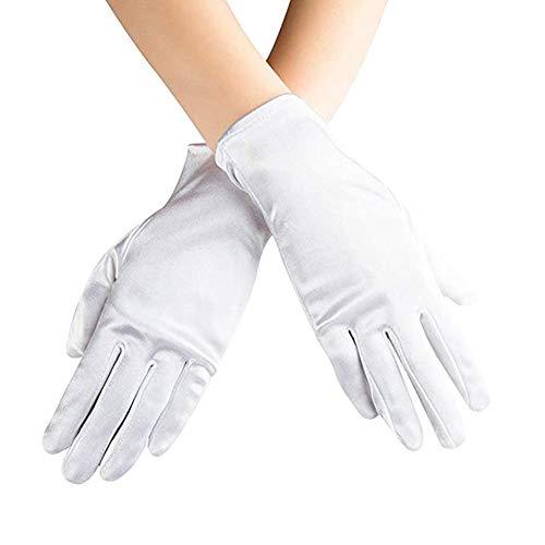 Ruiuzi Kurze Satin Handschuhe Handgelenk Länge Handschuhe Frauen Kleid Handschuhe Oper Hochzeit Bankett Kleid Handschuh für Party Dance (Weiß, ()