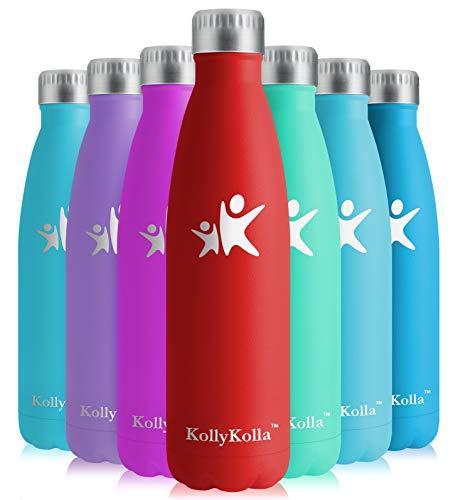 KollyKolla Vakuum Isolierte Edelstahl Trinkflasche, 500ml BPA Frei Wasserflasche Auslaufsicher, Thermosflasche für Kinder, Schule, Mädchen, Sport, Outdoor, Fahrrad, Büro, Fitness (Voll Rot)