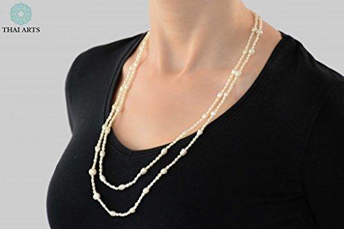 """Halskette """"Ko Nom Sao"""", Kette für Frauen (Glasperlenkette aus Handarbeit), exklusiver Schmuck mit Perlen für Frauen mit Stil. Handgefertigte Perlenkette aus Thailand"""