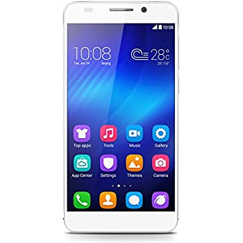Honor 6 Smartphone (5 pollici, Touchscreen, Octa-Core, 3GB RAM, 16GB ROM, fotocamera principale da 13MP, fotocamera frontale da 5MP, LTE CAT6, Android 4.4, EmotionUI 2.3, SIM singola) Bianco