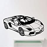 Wandaufkleber,Cartoon Sportwagen 90x46cm PVC DIY Kunst Wohnkultur Für Kinderzimmer Wohnzimmer Wandtattoo Abnehmbare Zollamt Geburtstagsgeschenk