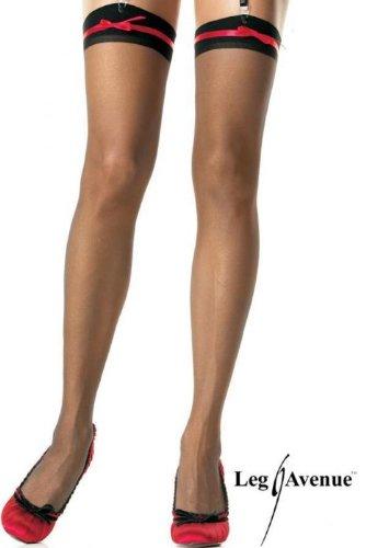 Leg Avenue - Durchsichtige Thigh Highs - 1040, Farbe:Schwarz/Rosa;Groesse:One Size (Burlesque Kostüm Designer)