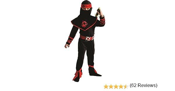 3-4 Spooktacular Creations Costume operato da Ninja Deluxe con pugnali ninja e stelle da lancio per unisex bambino bambino piccolo Nero rosso