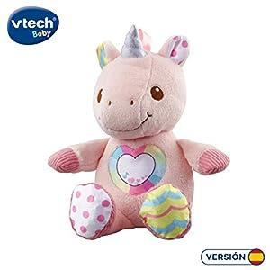VTech-El Unicornio cantarín Suave Peluche Interactivo con Diferentes Texturas. (3480-528122)