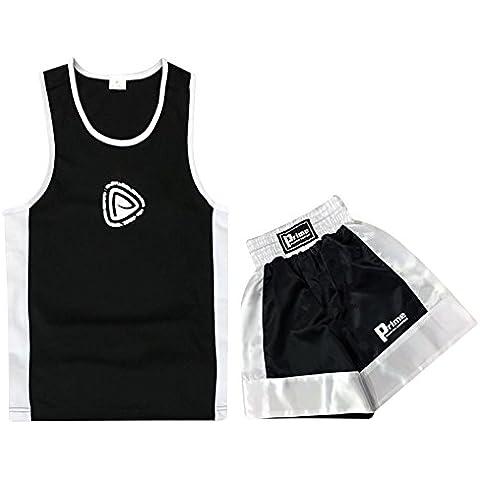 Uniforme de boxeo para niños, juego de dos piezas, top y pantalones cortos en negro, de siete a ocho