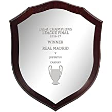 UEFA Champions League Winner Real Madrid or Juventus 2016-17, Large Wall or Desk, Wooden Football Shield