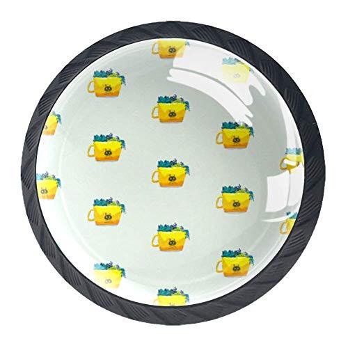 Tasse Möbelgriff Kabinett Knöpfe 4 Stücke Schublade Griff Kratzfest Kristallglas 3D Display Möbelknöpfe Dekoration Zieht Für Kleiderschrank 3.5×2.8CM