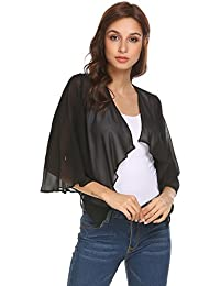 71a3d7fb91 FASHION4OL Wome Casual 3 4 Flare Sleeve Draped Open Front Sheer Chiffon  Cropped Cardigan Shrug