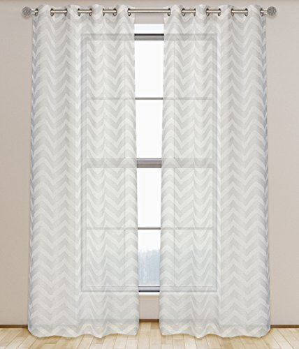 LJ Home Fashions Artemis semi Sheer geometrico anello/asole Effetto Lino, Tenda, Bianco/Grigio, 132x 241cm, set di 2