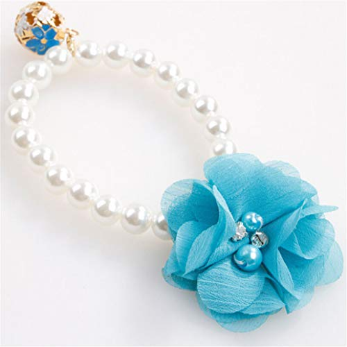 KISSFRIDAY Blue Bell Blume Anhänger Faux Perle Dekor Haustier Hund Welpen Kragen Halskette