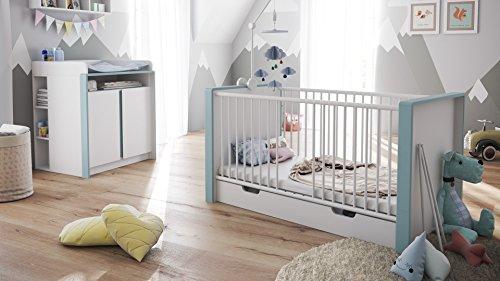 Babyzimmer Kinderzimmer Komplett Set Nandini Set 2 in Weiß matt mit Blenden in Denim