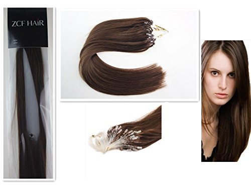 Style 18'' Easy Loops Micro Rings Beads Tipped 100% Real Human Hair Extensions Straight Hair Color 04 Medium Brown Beauty Design Salon by COOL-BEAUTY