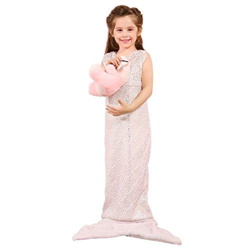 LANGRIA Kleine Meerjungfrau Decke mit Neckholder für Kinder Kuscheldecke Glitzernde Flanell Decke Fischschwanz Decke mit Reißverschluss für Bett Sofa (145x 54cm, Hellrosa)