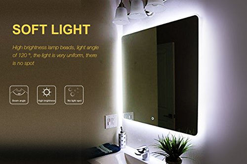 Led Spiegelleuchte,Led Eitelkeits Licht Streifen 4M/13Ft 6000K Tageslicht Dimmbar für Schminkspiegel.Make-up Licht,Schminklicht,Spiegel Nicht Inbegriffen - 5