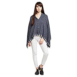 SKiDlers Womens Reversible Cape Poncho Shrug Pleasant Monsoon Womens Reversible Poncho(Free Size) Womens Knitted Poly Cotton Reversible Poncho Womens Reversible Cape Ponchu Shrug