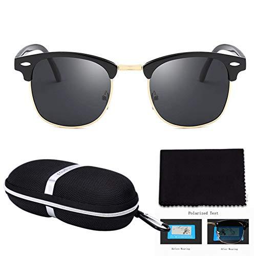 Taiyangcheng Hd polarisierte Sonnenbrille Frauen runde Spiegel Sonnenbrille männer halb Metall Fahren,Schwarzgrau