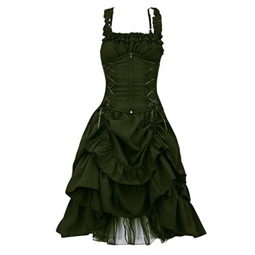 ❤Loveso❤ Damen Elegant Retro Vintage Petticoat Kleider Faltenrock Rockabilly Kleid Steampunk Gothic Kostüm Teufelchen Halloween Cosplay (Alkoholtester Kostüm)