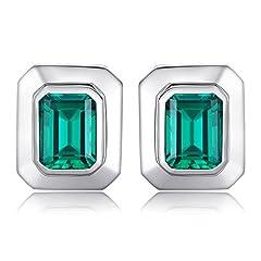Idea Regalo - JewelryPalace Uomo 4ct Sintetico Nano Russo Artificiale Smeraldo Gemelli 925 Sterling Argento