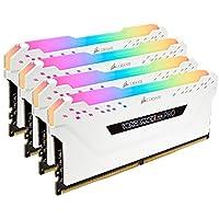 ذاكرة كمبيوتر برو 64 جيجابايت من كروسير CMW64GX4M4C3200C16W VENGEANCE RGB PRO 64GB (4x16GB) DDR4 3200 (PC4-25600) C16، أبيض