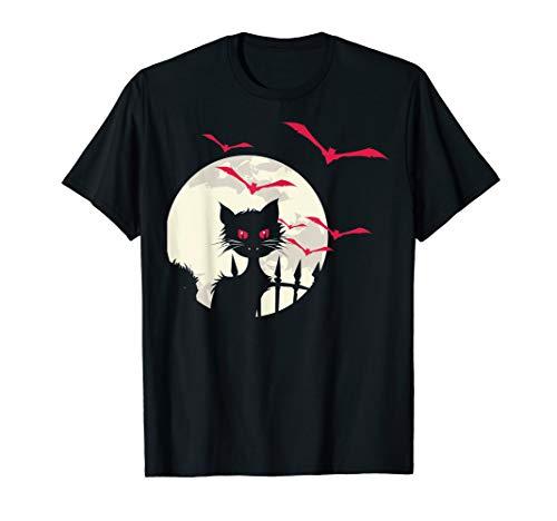 Schwarze Katzen Vollmond Kostüm Lustiges Halloween Outfit T-Shirt (Katze Kostüm Outfit Ideen)