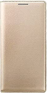 BS Premium Leather Flip Cover Case With Pocket For Reliance Jio Lyf Flame 3 (Golden)