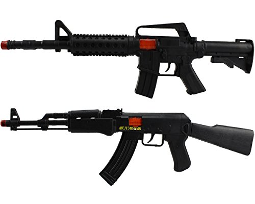 AK47 & M4 Rattergewehr Spielzeuggewehr Spielzeug Gewehr mit RATTER-SOUND im Doppelpack! (Spielzeug Gewehr Black Ops)